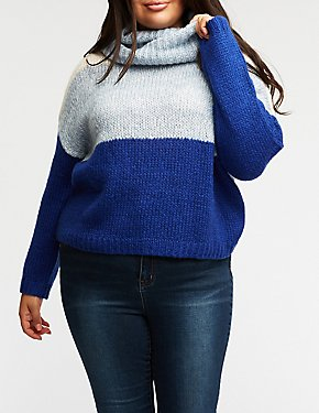 Plus Size Colorblock Turtleneck Pullover Sweater