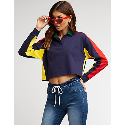 Retro Color Block Polo Shirt