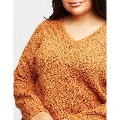 Plus Size V Neck Pullover Sweater