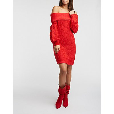 Off The Shoulder Cable Knit Sweater Dress