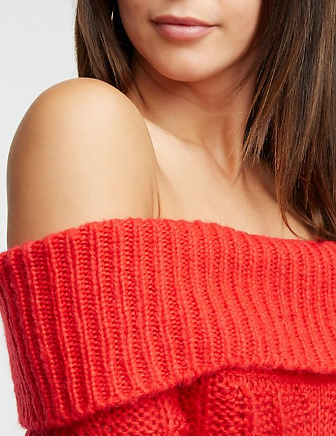 Off The Shoulder Cable Knit Sweater Dress Charlotte Russe