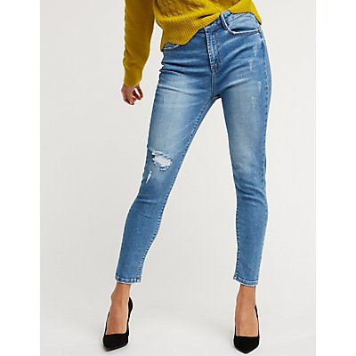 Destroyed Light Wash Denim Jeans