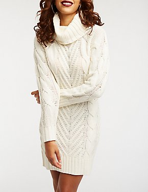 Turtle Neck Cable Knit Sweater Dress