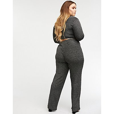 Plus Size Metallic Flare Pants