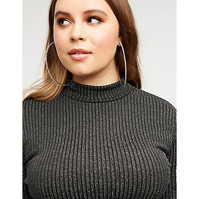Plus Size Metallic Mock Neck Top