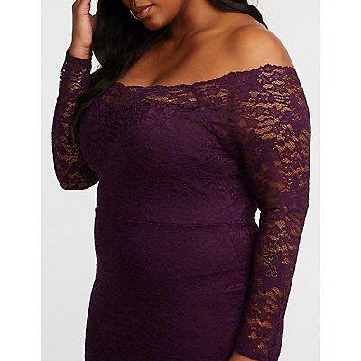 Plus Size Lace Off The Shoulder Bodycon Dress
