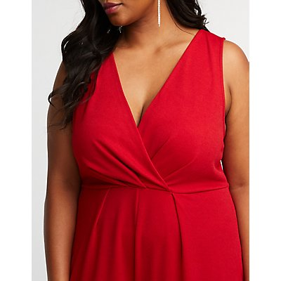 Plus Size Wrap Wide Leg Jumpsuit