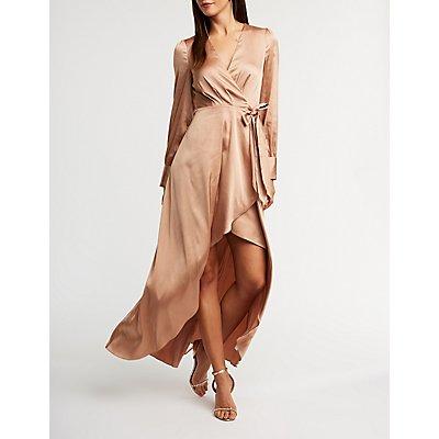 Satin Wrap High Low Maxi Dress