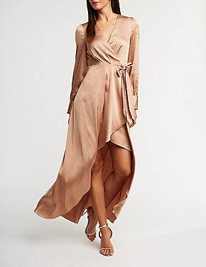 Satin Wrap High Low Maxi Dress