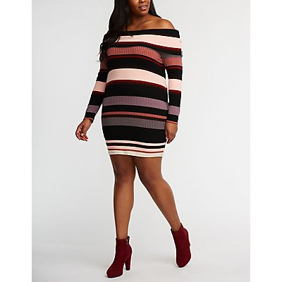 Plus Size Off The Shoulder Striped Dress