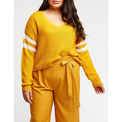 Plus Size Striped Sleeve Pullover Sweater