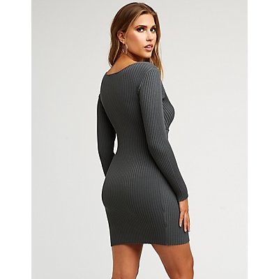 Ribbed Knit Wrap Sweater Dress