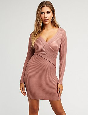 Ribbed Knit Wrap Sweater Dress