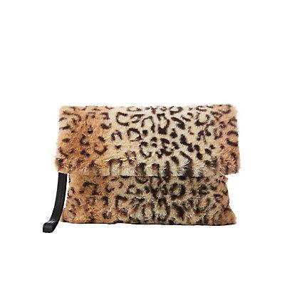Faux Fur Leopard Clutch