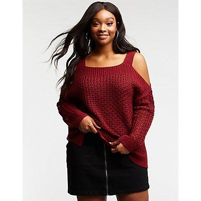 Plus Size Open Knit Cold Shoulder Sweater