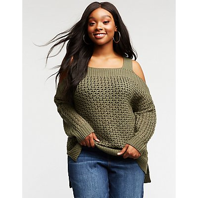 Plus Size Open Knit Cold Shoulder Sweater