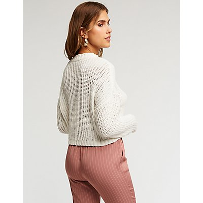Chenille Crop Pullover Sweater