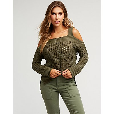 Open Knit Cold Shoulder Sweater