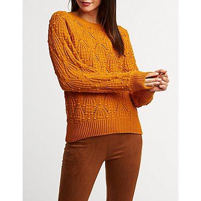 Pom Pom Crew Neck Pullover Sweater