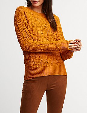 Pom Pom Crew Neck Pullover Sweater