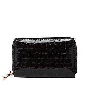 Faux Crocodile Zip Wallet