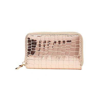 Faux Crocodile Zip Wallet