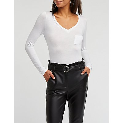 V Neck Pocket Bodysuit