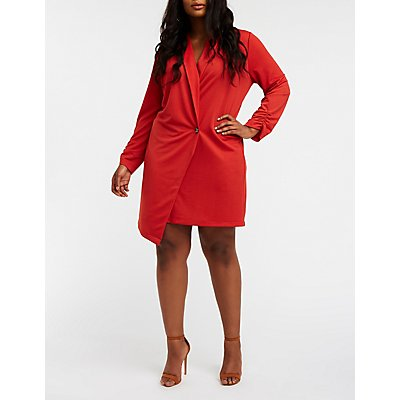 Plus Size Asymmetrical Longline Blazer