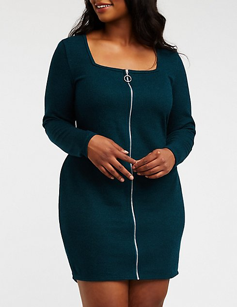 Plus Size Zip Up Ribbed Knit Dress Charlotte Russe