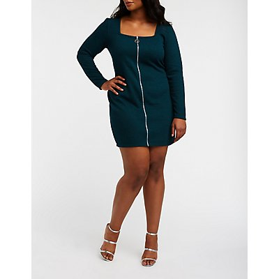 Plus Size Zip Up Ribbed Knit Dress