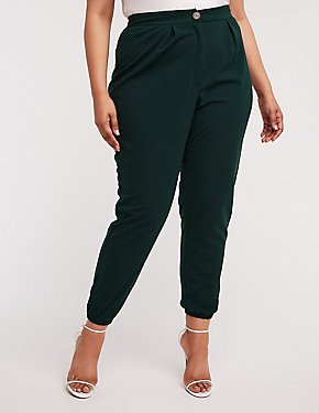 Plus Size High Waist Crepe Knit Joggers