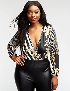 Plus Size Striped & Printed Wrap Bodysuit