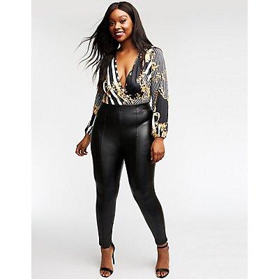 Plus Size Striped & Printed Wrap Bodysuit