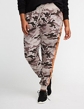 Plus Size Camo Side Stripe Jogger Pants