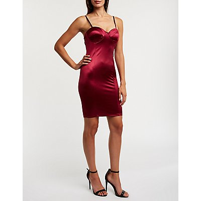 Satin Bustier Bodycon Dress