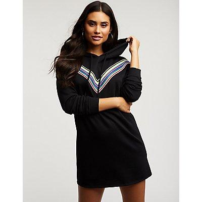 Rainbow Striped Sweatshirt Dress