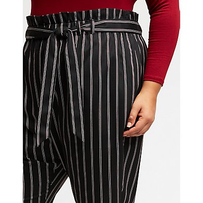 Plus Size Striped Tie Front Trousers