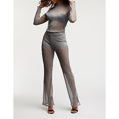 Metallic Mesh Flare Pants
