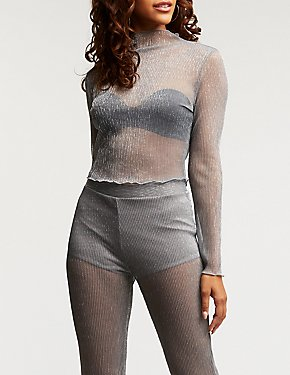 Metallic Mesh Mock Neck Top