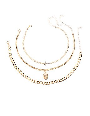 Crystal Cross Layered Necklaces - 3 Pack
