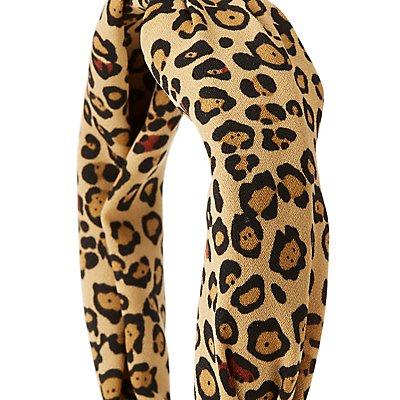 Leopard Print Top Knot Headband