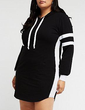 Plus Size Hooded Varsity Dress
