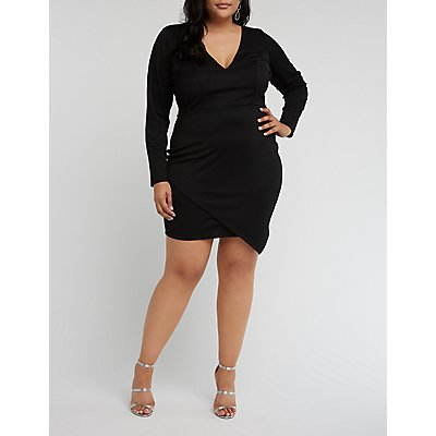 Plus Size V Wired Bodycon Dress