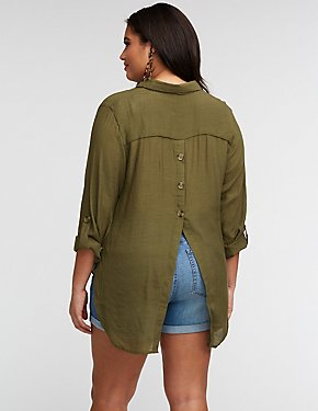 Plus Size Button Up Back Blouse