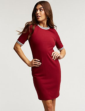 Sporty Ribbed Bodycon Dress