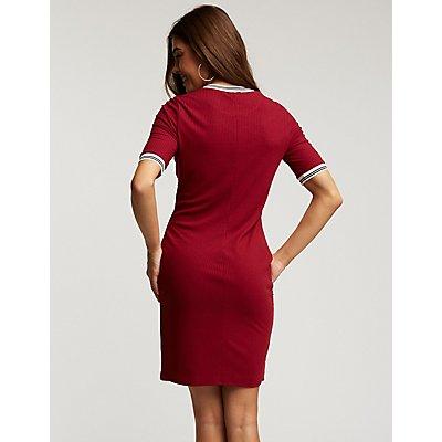 Sporty Ribbed Bodycon Dress