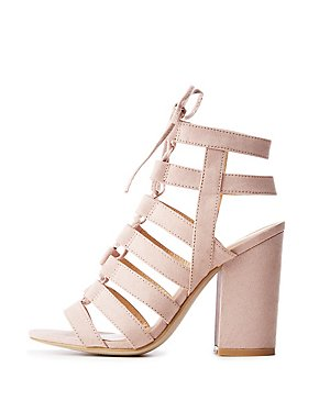 Lace Up Caged Gladiator Sandals