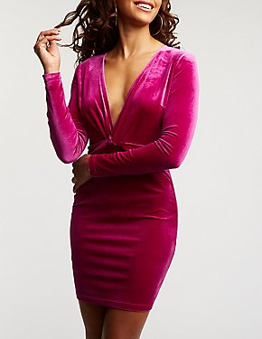 Velvet Twist Bodycon Dress