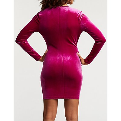 Velvet Twist Bodycon Dress