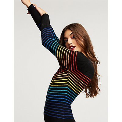 Rainbow Striped Sweater Dress